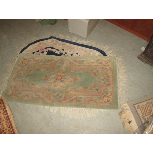 432 - 7 x  Chinese wash rugs, varying sizes, predominately green ground...