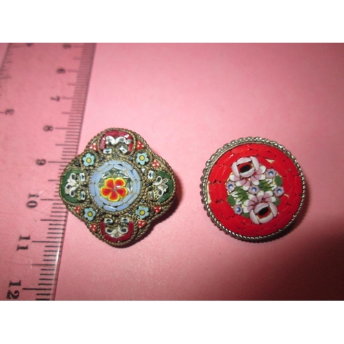 14 - 2 x vintage Italian micro mosaic floral brooches...