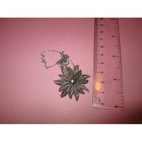 24 - Vintage silver filigree work flower pendant on chain...