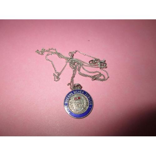 34 - Silver and enamelled Queen Elizabeth II silver jubilee pendant on chain...