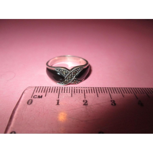 58 - Art Deco style ring set with marcasites and blackstone...