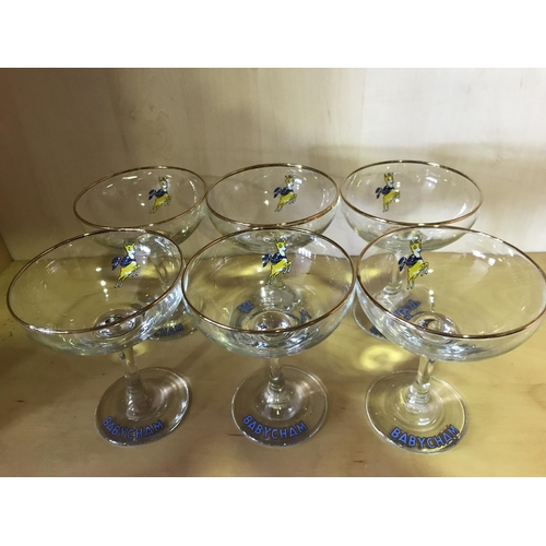10 - SUPER SET OF 6 BABYCHAM GLASSES IN PERFECT CONDITION IN ORIGINAL BOX...