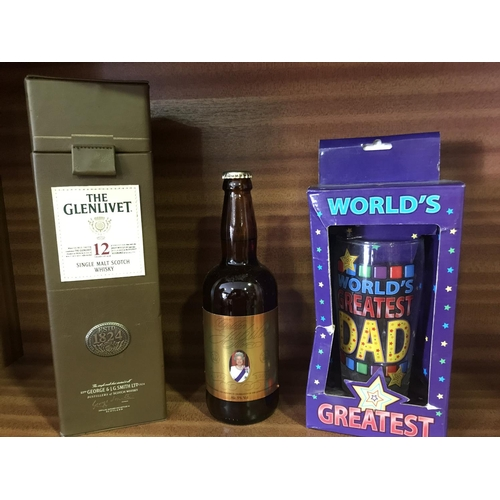 11 - 3 X DRINKING COLLECTABLES, GLENLIVET,LEATHERETTE BOX WITH WHISKY CANISTER, CAINS GOLDEN JUBILEE BEER...