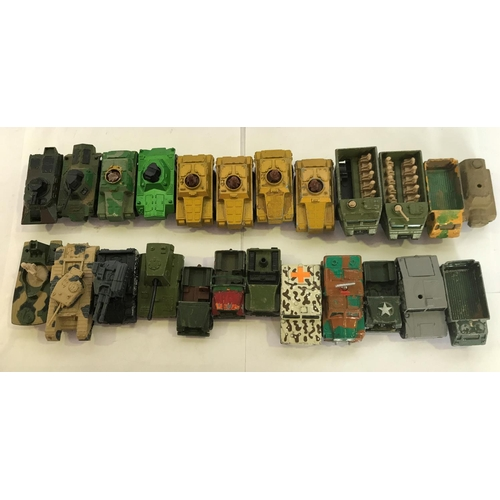 12 - 24 X MATCHBOX AND CORGI DIE CAST MILITARY VEHICLES, SOME DAMAGED, ( SEE PHOTOS, ) BUT A LOT ARE FINE...