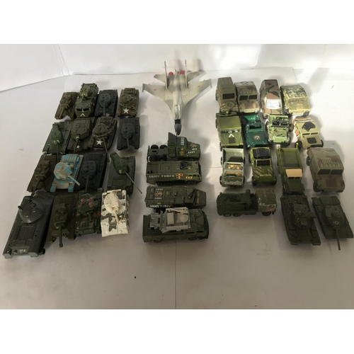 13 - 34 X DIECAST, (SOME PLASTIC AND DAMAGED,) MILITARY VEHICLES WITH LARGER EASTERN DIECAST FIGHTER JET ...