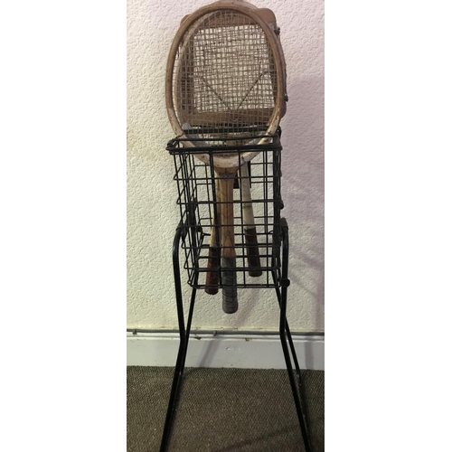 17 - INGENIOUS VINTAGE TENNIS METAL CONTRAPTION, STAND IT ON ITS LEGS IT BECOMES A RACQUET HOLDER, TURN I...