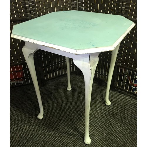 18 - SHABBY CHIC CAFE PARIS OCTAGONAL TABLE ON QUEEN ANNE LEGS, STANDS 2 FOOT 2