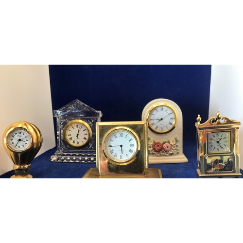 2 - 5X SMALL CLOCKS, 3X POLISHED BRASS, 1X CERAMIC AND 1X GLASS, ALL IN VGC...