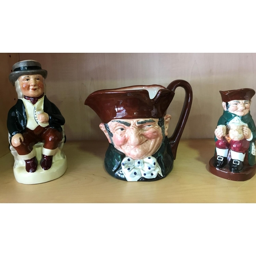 3 - 3X FIGURES, LARGE OLD CHARLEY AND MEDIUM OLD CHARLEY BY DOULTON AND LARGE TOBY BY TONY WOOD, ALL FIR...