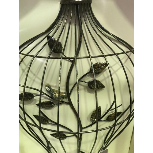 31 - 2 X WALL ART IN THE SHAPE OF NEW BIRD CAGES WITH BRANCH AND BIRD, 23