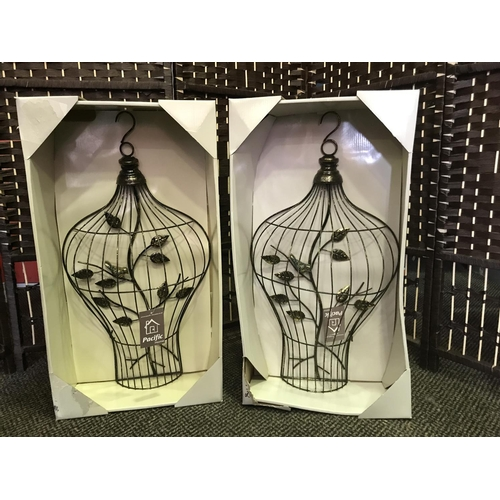 32 - 2 X WALL ART IN THE SHAPE OF NEW BIRD CAGES FEATURING A BIRD AND BRANCH 23