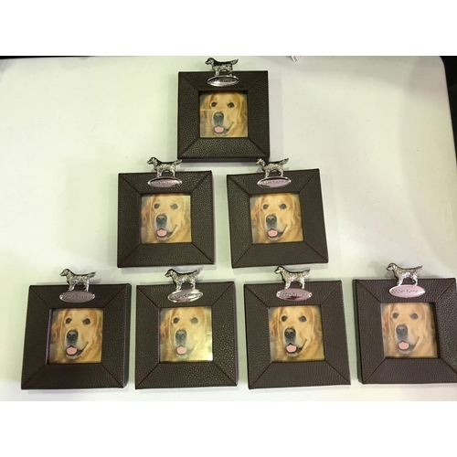 34 - 7 X  CHUNKY NEW PHOTO FRAMES IN LEATHERETTE FINISH FEATURING A PLAQUE AND A PHOTO OF A GOLDEN RETRIE...
