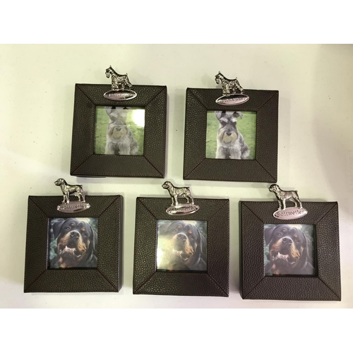 35 - 5 X NEW CHUNCKY LEATHERETTE PHOTO FRAMES WITH A PLAQUE AND PHOTO OF 3X ROTTWEILERS AND 2X SCHNAUZERS...