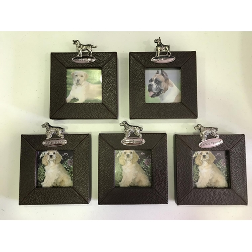 36 - 5 X NEW CHUNKY LEATHERETTE PHOTO FRAMES FEATURING A PLAQUE AND A PHOTO OF A LABRADOR, A BOXER AND TH...