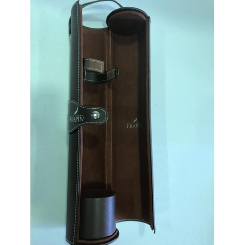 38 - 5 X NEW LEATHER FRAPIN COGNAC CASES WITH HANDLES AND CLIP BUTTON, CAN CARRY WINES, SPIRITS ETC...