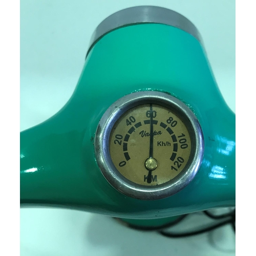 45 - VESPA BEDSIDE CABINET LAMP MEASURING 13 INCHES IN HEIGHT - 17 INCHES ACROSS HANDLEBAR...