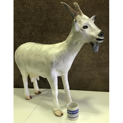 54 - LARGE RESIN GOAT FIGURE STANDING 30 INCHES IN HEIGHT AT TALLEST POINT & 34 9NCHES IN LENGTH (NOT FOR...