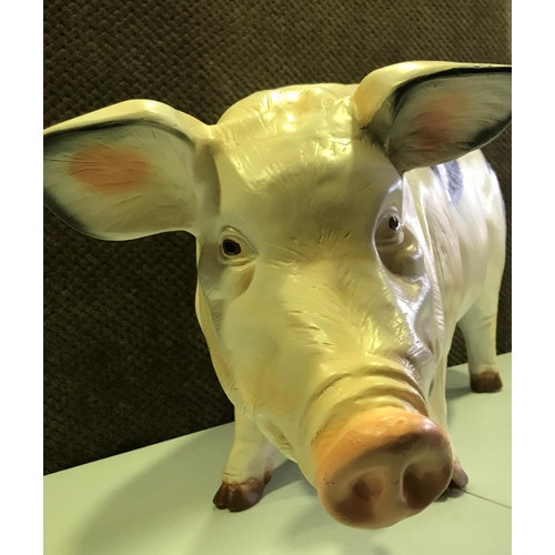 55 - LARGE RESIN TAMWORTH BLACKSPOT PIG FIGURE - STANDING 20 INCHES IN HEIGHT & 36 INCHES IN LENGTH (Not ...