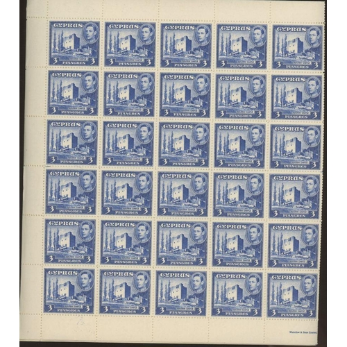 17 - Cyprus 1938-51 3pi ultramarine in U/M sheets of 60, mostly fine. SG 156a Cat £1050 (5 sheets, 300 st...