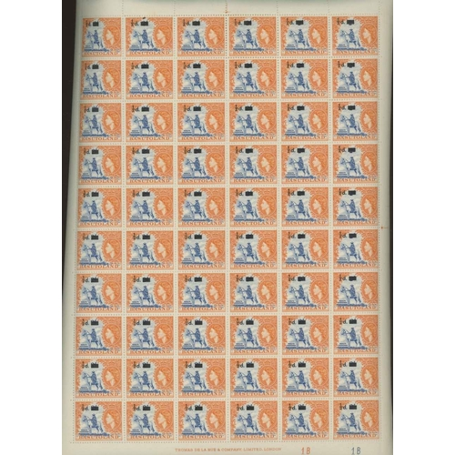 3 - Basutoland 1959 ½d on 2d deep bright blue & orange (SG 54) in U/M sheets of 60 (approx 26 sheets, 15...