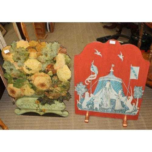 11 - A MEDIEVAL DESIGN FIRE SCREEN together with a floral decoupage dummy board <br>...