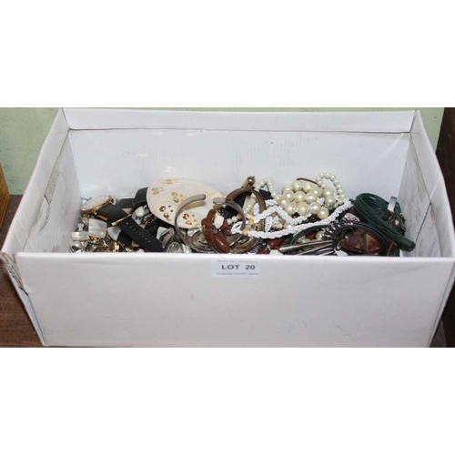 20 - A SHOE BOX CONTAINING COSTUME JEWELLERY and associated items <br>...