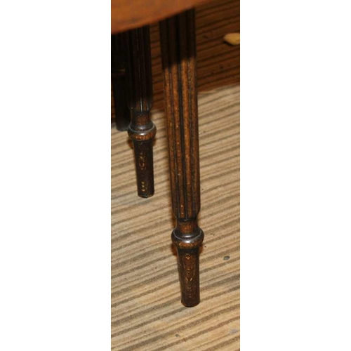 213 - A REPRODUCTION NEST OF THREE TABLES supported on slender reeded legs