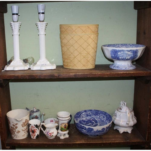 25 - TWO SHELVES CONTAINING A SELECTION OF DOMESTIC POTTERY & PORCELAIN to include, a pair of white glass...