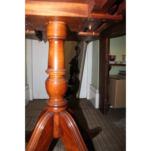 32 - A REPRODUCTION POLLARD YEW WOOD COLOURED OVAL TWIN FLAP TOPPED TABLE <br>...