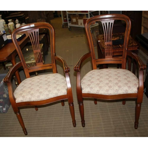 37 - A PAIR OF MODERN ARMCHAIRS with overstuffed seat pads <br>...