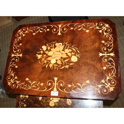 43 - AN INLAID FANCY NEST OF THREE TABLES Italian made, the smallest being a musical box <br>...