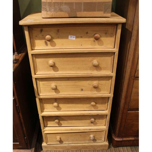46 - A STRIPPED PINE TALL CHEST OF SIX DRAWERS <br>...