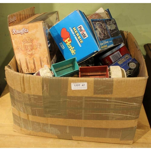47 - A BOX CONTAINING A SELECTION OF DIE-CAST VEHICLES VARIOUS <br>...