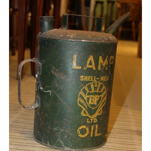 51 - A GREEN FINISHED SHELL-MEX BP LTD LAMP OIL CONTAINER, together with a selection of galvanized metal ...