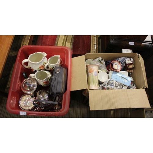 58 - A CRATE AND A BOX CONTAINING A SELECTION OF USEFUL DOMESTIC ITEMS VARIOUS <br>...