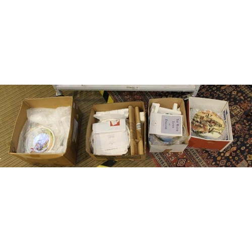60 - FOUR BOXES HOUSING A LARGE COLLECTION OF LIMITED EDITION COMMEMORATIVE PLATES, some with certificati...
