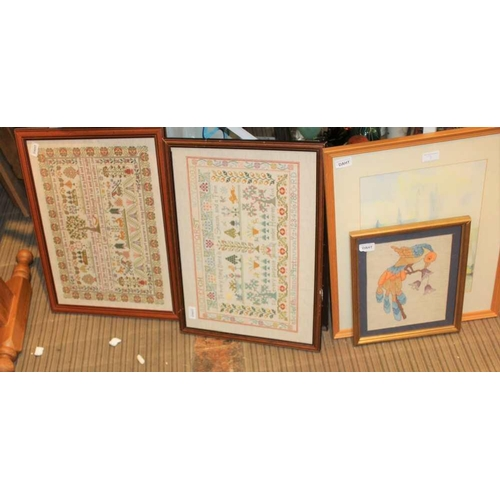 7 - A SELECTION OF DECORATIVE PICTURES & NEEDLEWORKS <br>...