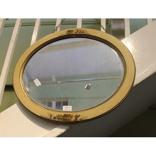 8 - AN OVAL BEVEL PLATE WALL MIRROR in Oriental design lacquer frame <br>...