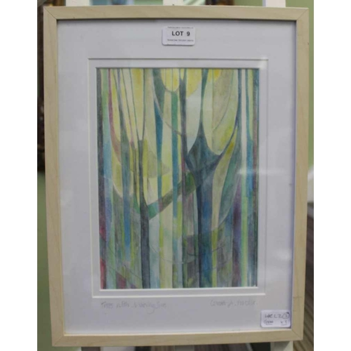 9 - CAROL A. PROCTOR <br>'Trees, with morning sun', a modernist watercolour, together with another water...