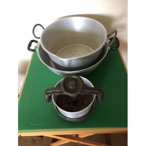 26 - Antique iron tongue press & 2 alloy jam pans...