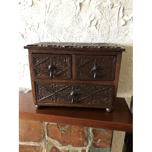 48 - Victorian miniature carved oak chest of 3 drawers...