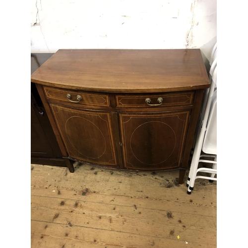 56 - Victorian mahogany & inlaid bow front cabinet...