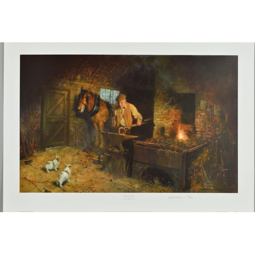 28 - DAVID SHEPHERD (1931-2017) 'Jimmy's Forge', a limited edition print of a blacksmith at work, 296/850...