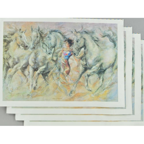 39 - GARY BENFIELD (BRITISH 1965) 'HORSE WHISPERER', four limited edition prints on canvas, 30-33/150, si...