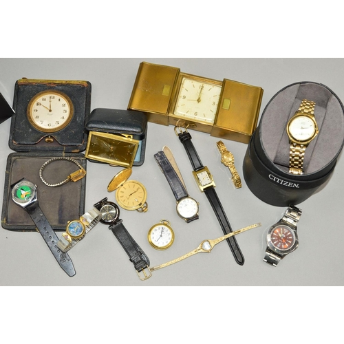 56 - A SELECTION OF WATCHES AND TRAVEL CLOCKS to include lady's and gentleman's wrist watches, a cased Ci...