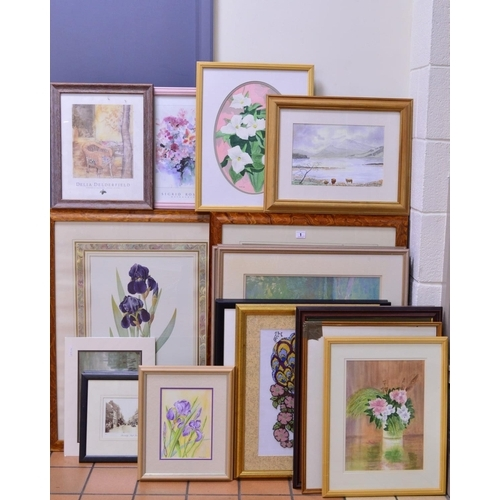 1 - PICTURES AND PRINTS, etc to include framed prints of flowers, watercolour paintings, framed photogra...