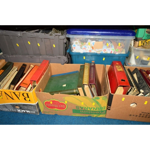 39 - A VARY LARGE ACCUMULATION OF STAMPS AND COVERS, in albums, stockbooks and loose in twenty seven boxe...