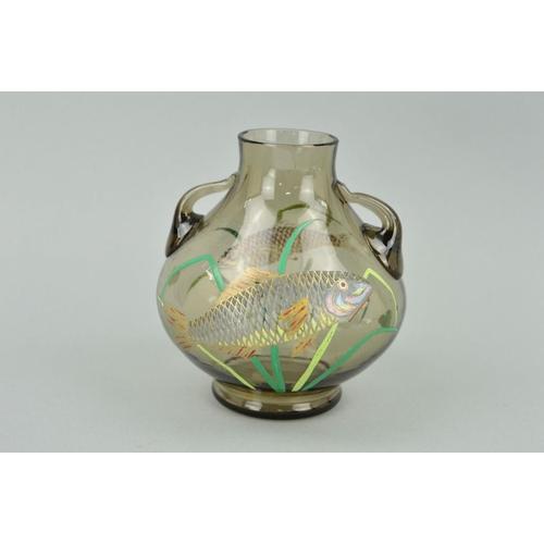 GRAF HARRACH-HARRACHOV (?), twin handled glass vase with applied