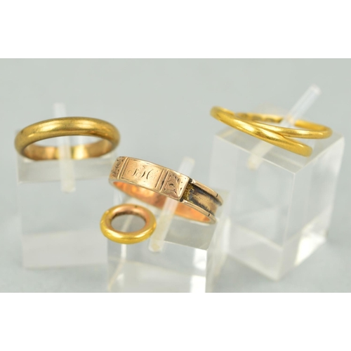 18 - FOUR RINGS AND A CLASP to include a Georgian gold memorial ring with personal engraving to inside of...