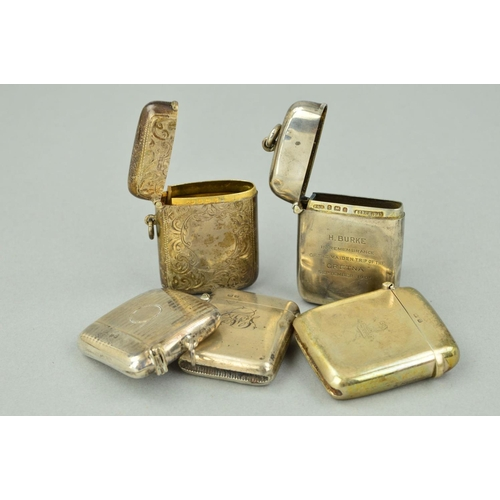 21 - FIVE LATE 19TH TO EARLY 20TH CENTURY SILVER VESTA CASES, all of rectangular outlines, one with verti...